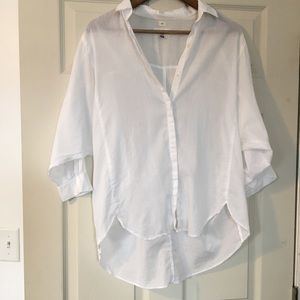 Ann Taylor Loft The Softened white cotton Shirt M